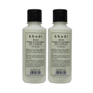 Nike,Maybelline,Khadi,Ag,Davidoff,Globus,Kaamastra,Viviana Hair Care - Khadi Herbal Orange & Lemongrass Hair Conditioner - 210ml (Set of 2)