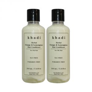Globus,Diesel,Khadi,Nike,Indrani Hair Care - Khadi Herbal Orange & Lemongrass Hair Conditioner SLS-Paraben Free - 210ml (Set of 2)