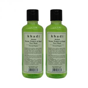 Khadi Herbal Neem, Teatree & Basil Face Wash - 210ml (set Of 2)