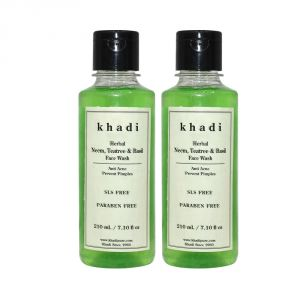 Khadi,Clinique Skin Care - Khadi Herbal Neem, Teatree & Basil Face Wash SLS-Paraben Free - 210ml (Set of 2)