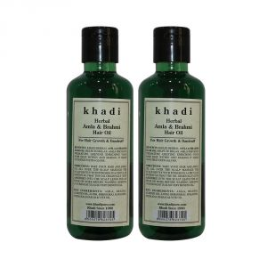 Benetton,Wow,Kaamastra,Rasasi,Kawachi,Uni,Khadi Personal Care & Beauty - Khadi Herbal Amla & Brahmi Hair Oil - 210ml (Set of 2)