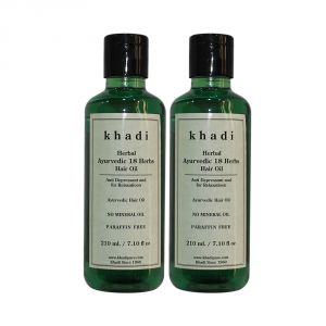 Khadi Herbal Ayurvedic 18 Herbs Hair Oil Paraffin-mineral Oil Free - 210ml (set Of 2)