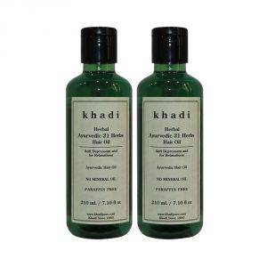 Globus,Clinique,Neutrogena,Dior,Head & Shoulders,Brut,Khadi Personal Care & Beauty - Khadi Herbal Ayurvedic 21 Herbs Hair Oil Paraffin-Mineral Oil Free - 210ml (Set of 2)