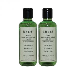 Khadi Herbal Neem, Teatree & Basil Hair Oil - 210ml (set Of 2)