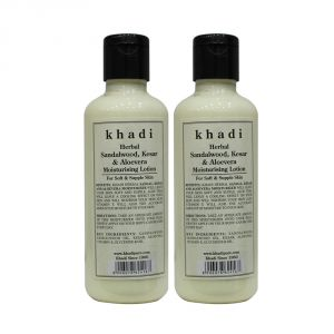 Khadi Herbal Sandalwood, Kesar & Aloevera Moisturising Lotion - 210ml (set Of 2)
