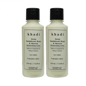Khadi Herbal Sandalwood, Kesar & Aloevera Moisturising Lotion Sls-paraben Free - 210ml (set Of 2)