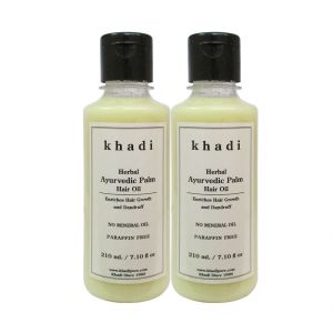 Globus,Diesel,Khadi,Gucci,Brut,Dove Personal Care & Beauty - Khadi Herbal Ayurvedic Palm Hair Oil - 210ml (Set of 2)