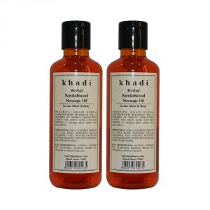 Globus,Dior,Nike,Kaamastra,Nova,Khadi Body Care - Khadi Herbal Sandalwood Massage Oil - 210ml (Set of 2)
