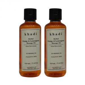 Globus,Diesel,Khadi,Nike,Kent,Indrani Personal Care & Beauty - Khadi Herbal Orange & Lemongrass Massage Oil Paraffin-Mineral Oil Free - 210ml (Set of 2)