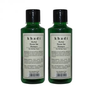 Nike,Maybelline,Kaamastra,Khadi,Rasasi,Indrani,Cameleon Personal Care & Beauty - Khadi Herbal Neem Sat Shampoo - 210ml (Set of 2)