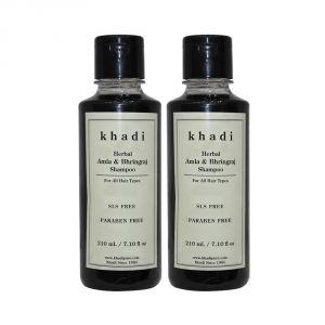 Khadi Herbal Amla & Bhringraj Shampoo SLS-Paraben Free - 210ml (Set Of 2)