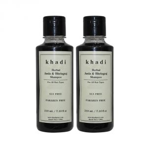 Khadi Herbal Amla & Bhringraj Shampoo Sls-paraben Free - 210ml (set Of 2)
