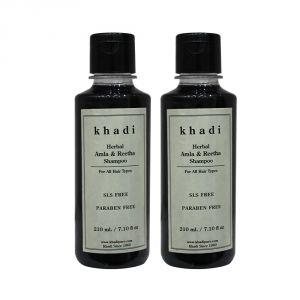 Khadi Herbal Amla & Reetha Shampoo SLS-Paraben Free - 210ml (Set Of 2)