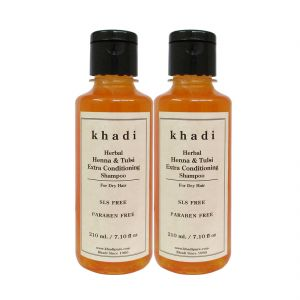 Khadi Herbal Henna & Tulsi Extra Conditioning Shampoo SLS-Paraben Free - 210ml (Set Of 2)