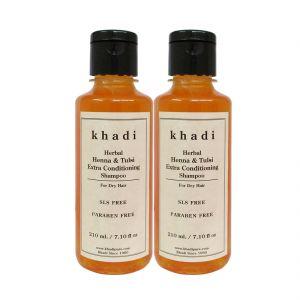 Khadi Herbal Henna & Tulsi Extra Conditioning Shampoo SLS-Paraben Free - 210ml (Set Of 2)
