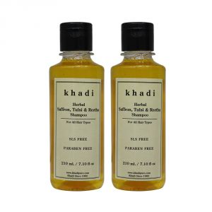 Khadi Herbal Saffron, Tulsi & Reetha Shampoo Sls-paraben Free - 210ml (set Of 2)