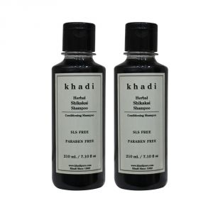 Khadi Herbal Shikakai Shampoo SLS-Paraben Free - 210ml (Set Of 2)