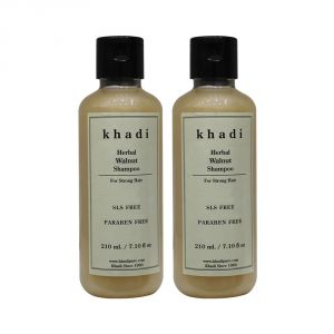 Khadi Herbal Walnut Shampoo SLS-Paraben Free - 210ml (Set Of 2)