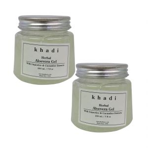 Khadi Herbal Aloevera Gel With Liquorice & Cucumber Extracts (transparant) - 200g (set Of 2)