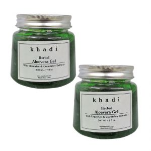 Khadi Herbal Aloevera Gel With Liquorice & Cucumber Extracts (green) - 200g (set Of 2)
