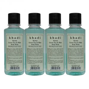 Khadi Herbal Green Tea & Mint Body Wash - 210ml (set Of 4)