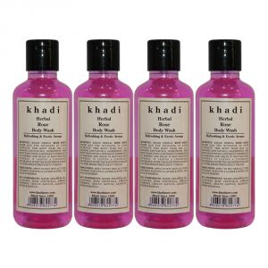 Khadi Herbal Rose Body Wash - 210ml (set Of 4)