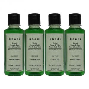Khadi Herbal Neem & Tulsi Face And Body Wash Sls-paraben Free - 210ml (set Of 4)