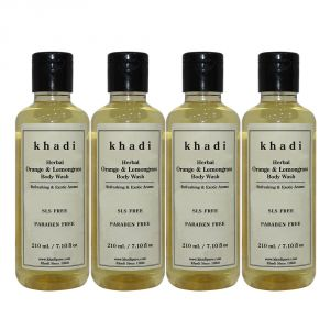 Khadi Herbal Orange & Lemongrass Body Wash Sls-paraben Free - 210ml (set Of 4)