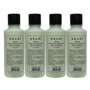 Nike,Jovan,Adidas,Kaamastra,Khadi,Globus,Calvin Klein Personal Care & Beauty - Khadi Herbal Green Tea & Aloevera Hair Conditioner - 210ml (Set of 4)