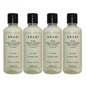 Globus,Diesel,Khadi,Gucci,Brut,Uni Personal Care & Beauty - Khadi Herbal Orange & Lemongrass Hair Conditioner SLS-Paraben Free - 210ml (Set of 4)