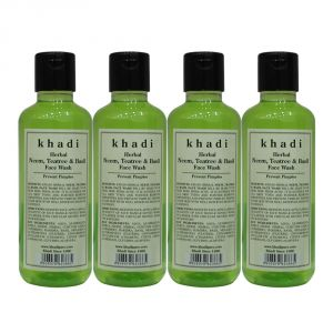 Khadi Herbal Neem, Teatree & Basil Face Wash - 210ml (set Of 4)