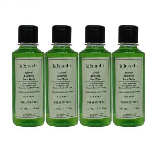 Khadi Herbal Aloevera Face Wash Sls-paraben Free - 210ml (set Of 4)