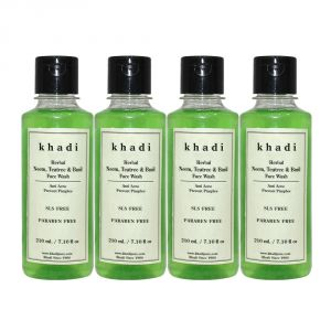 Khadi Herbal Neem, Teatree & Basil Face Wash Sls-paraben Free - 210ml (set Of 4)