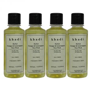 Khadi Herbal Orange & Lemongrass Face Wash Sls-paraben Free - 210ml (set Of 4)