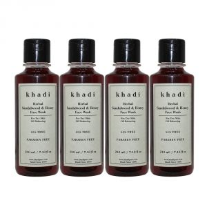 Khadi,Indrani Skin Care - Khadi Herbal Sandalwood & Honey Face Wash SLS-Paraben Free - 210ml (Set of 4)