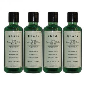 Khadi Herbal Ayurvedic 18 Herbs Hair Oil Paraffin-mineral Oil Free - 210ml (set Of 4)