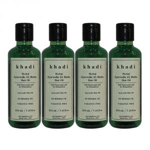 Globus,Diesel,Khadi,Gucci,Brut Personal Care & Beauty - Khadi Herbal Ayurvedic 21 Herbs Hair Oil Paraffin-Mineral Oil Free - 210ml (Set of 4)