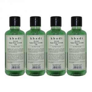 Nova,Alba Botanica,Estee Lauder,Clinique,Adidas,Kaamastra,Khadi Personal Care & Beauty - Khadi Herbal Tulsi Hair Growth Oil - 210ml (Set of 4)