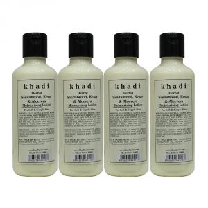 Khadi Herbal Sandalwood, Kesar & Aloevera Moisturising Lotion - 210ml (set Of 4)