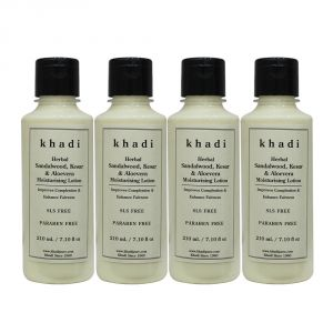 Khadi Herbal Sandalwood, Kesar & Aloevera Moisturising Lotion Sls-paraben Free - 210ml (set Of 4)