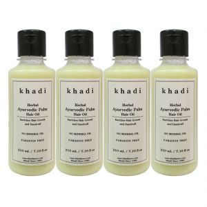 Nova,Alba Botanica,Estee Lauder,Clinique,Adidas,Kaamastra,Khadi Personal Care & Beauty - Khadi Herbal Ayurvedic Palm Hair Oil - 210ml (Set of 4)