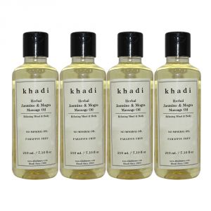 Khadi Herbal Jasmine & Mogra Massage Oil Paraffin-mineral Oil Free - 210ml (set Of 4)