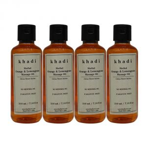 Khadi Herbal Orange & Lemongrass Massage Oil Paraffin-mineral Oil Free - 210ml (set Of 4)