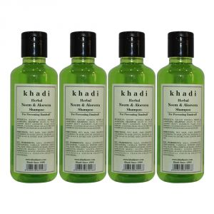 Khadi Herbal Neem & Aloevera Shampoo - 210ml (set Of 4)