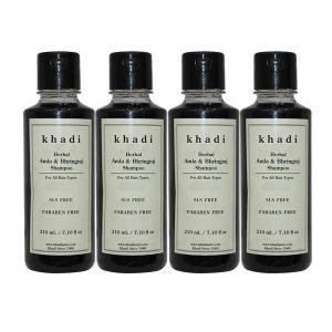 Khadi Herbal Amla & Bhringraj Shampoo SLS-Paraben Free - 210ml (Set Of 4)