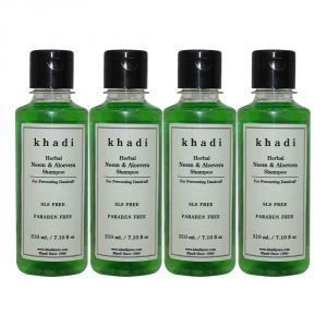 Khadi Herbal Neem & Aloevera Shampoo Sls-paraben Free - 210ml (set Of 4)