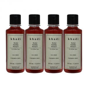 Khadi Herbal Satritha Shampoo SLS-Paraben Free - 210ml (Set Of 4)