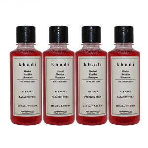 Khadi Herbal Reetha Shampoo SLS-Paraben Free - 210ml (Set Of 4)