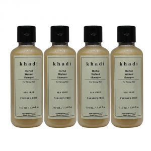 Khadi Herbal Walnut Shampoo Sls-paraben Free - 210ml (set Of 4)
