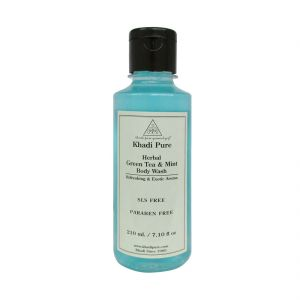 Khadi Pure Herbal Green Tea & Mint Body Wash Sls-paraben Free - 210ml